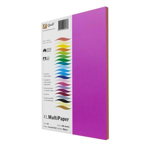 Quill XL MultiPaper 80gsm A4 Hot Assorted 100 Pack