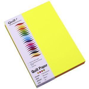Quill XL MultiPaper 80gsm A5 Assorted Fluoros 250 Pack