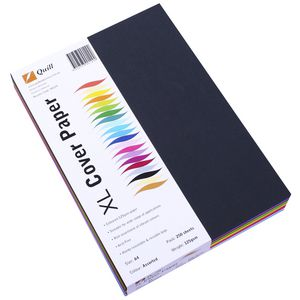 Quill 125gsm A4 XL Cover Paper Assorted Colours 250 Pack