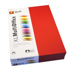 Quill Coloured Paper 80gsm A4 Red 500 Sheet Ream