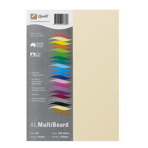 Quill XL MultiBoard 210gsm A4 Cream 100 Pack