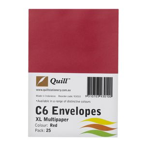 Quill Plainface C6 Envelope Red 25 Pack