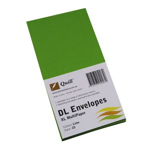 Quill Plainface DL Envelope Lime 25 Pack