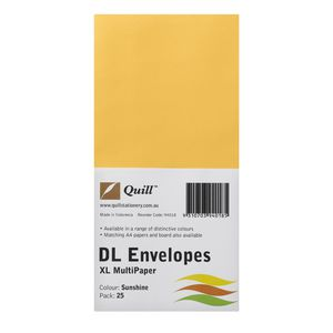 Quill Plainface DL Envelope Sunshine 25 Pack