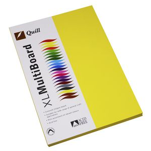 Quill XL MultiBoard 210gsm A4 Lemon 50 Pack