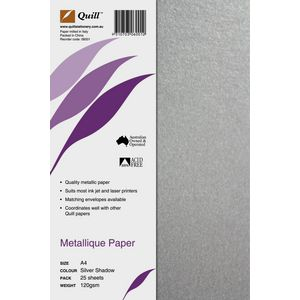 Quill Metallique 120gsm A4 Paper Silver Shadow 25 Pack