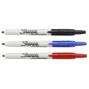 Sharpie Fine Retractable Permanent Markers Assorted 3 Pack