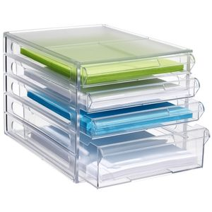Keji Desktop File Storage Organiser 4 Drawer Clear