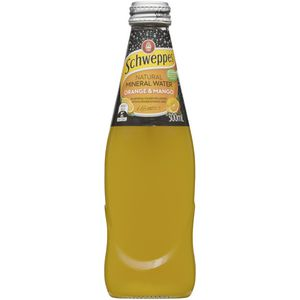Schweppes Orange & Mango Mineral Water Glass Bottle 300mL 6x4 Pack