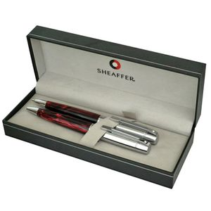 Sheaffer 300 Ballpoint Pen and Pencil Set Red featuring Chrome Plate Trim