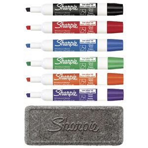 Sharpie Chisel Whiteboard Markers with Eraser Assorted 6 Pack
