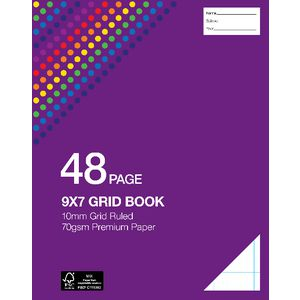 "Studymate 9 x 7"" Premium Grid 10mm Book NSW/QLD Ruling"