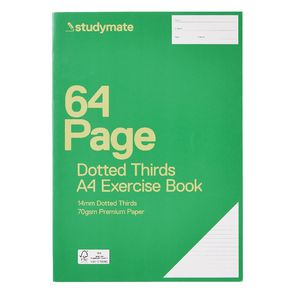 Studymate A4 14mm Dotted Thirds Exercise Book 64 Page
