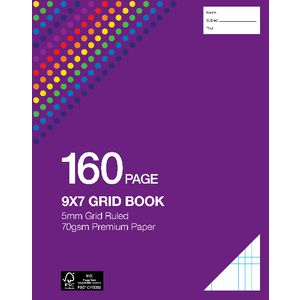 "Studymate 9 x 7"" NSW Ruling Premium Grid Book"