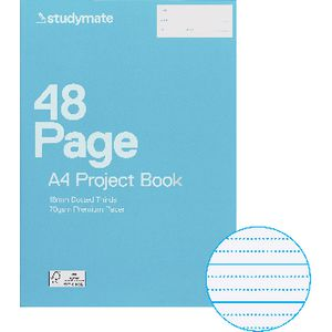 Studymate A4 Premium Project Book 18mm Dotted Thirds 48 Page
