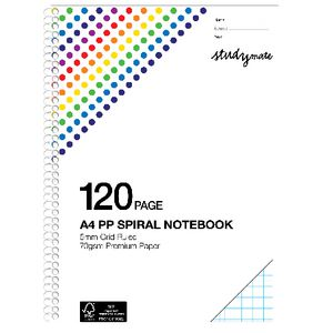 Studymate Premium Clear PP Spiral Grid Notebook 120 Pages