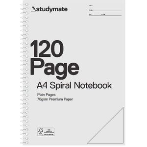 Studymate Premium Clear PP Spiral Plain Notebook 120 Pages