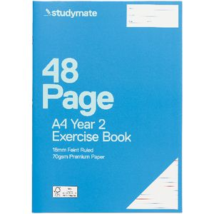 Studymate A4 Premium Exercise Book Year 2 Ruled 48 Page