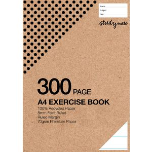 Studymate Premium A4 Plain Recycled Exercise Book 300 Pages