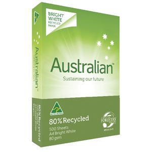 Australian 80% Recycled 80gsm A4 Copy Paper 500 Sheet Ream