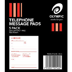 Olympic Telephone Message Pads 5 Pack