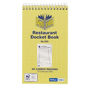 Spirax 506 Restaurant Docket Book 50 Pages