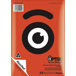 Optix 80gsm A4 Coloured Paper Raza Red 100 Sheets