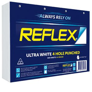 Reflex Ultra White 80gsm A4 Copy Paper 4 Hole Punched Ream