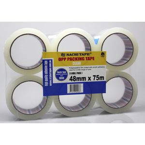 Nachi Clear Packaging Tape 48mm x 75m Roll 6 Pack
