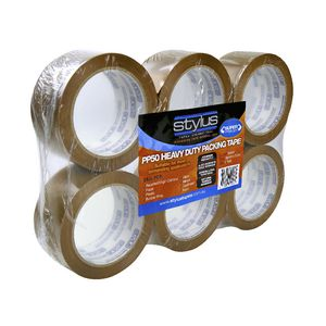 Stylus Heavy Duty Packaging Tape Brown 6 Pack