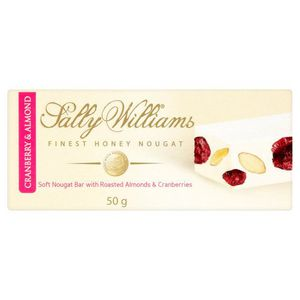 Sally Williams Cranberry and Almond Nougat Bar 50g