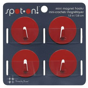 Three By Three Mini Magnet Hooks Red 4 Pack