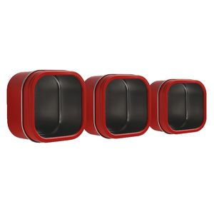 Three By Three Magnetic Storage Bin Red 3 Pack