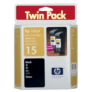 HP 15 Black Ink Twin Pack
