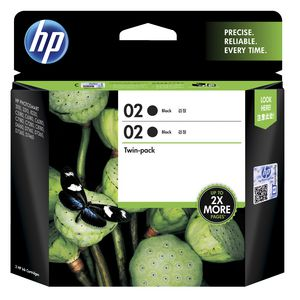 HP 02 Ink Cartridge Twin Pack Black