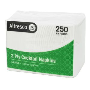 Alfresco 2 Ply Cocktail Napkins White 250 Pack