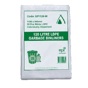 Tailored Packaging Degradable Bin Liner White 120L 100 Pack