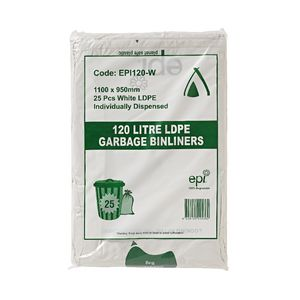 Tailored Packaging Degradable Bin Liner White 120L 25 Pack