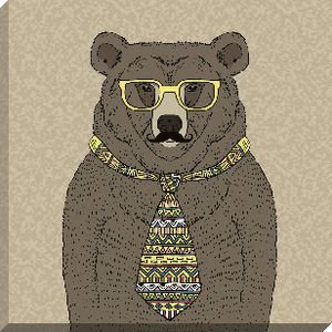 Canvas 45x45cm Dressed Up Brown Bear