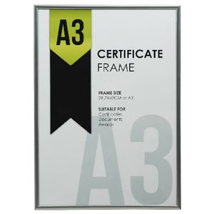 Lifestyle Brands Certificate Frame A3 Value 25 Pack Silver