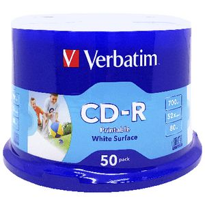 Verbatim CD-R 700MB 52x White Inkjet Spindle 50 Pack