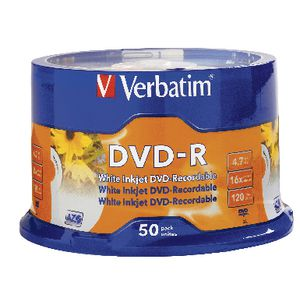 Verbatim DVD-R 4.7GB 16x White Inkjet Spindle 50 Pack