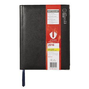 Upward Deluxe A4 Week to View 2016 Diary Black