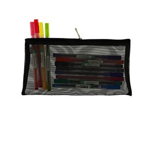 X Mesh Flat Pencil Case Large Black