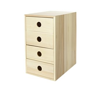 X 4 High Storage Drawers Light Oak