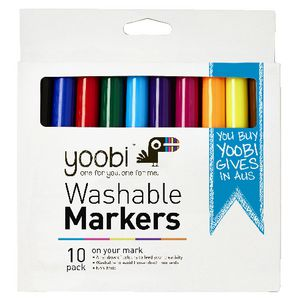 Yoobi Washable Markers 10 Pack Multi-coloured