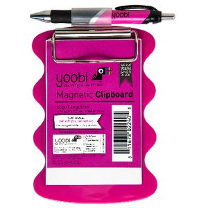 Yoobi A6 Magnetic Clipboard with A6 Notepad and Pen Pink