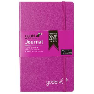 Yoobi Medium PU Hard Cover Journal Pink 80 Page