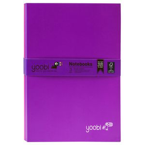 Yoobi Slim Notebook Purple and Pink 40 Page 3 Pack