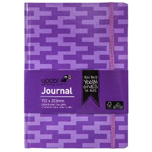 Yoobi A5 Hard Cover Journal Zig Zag Purple 72 Page
